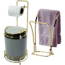 Porta Papel Higiênico de Chão Toalheiro Bancada Dourado - Wp Connect