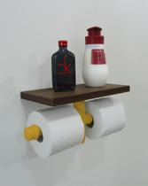 Porta Papel Higiênico Duplo Acessório para Banheiro Papeleira Suporte de Parede - Amarelo Laca - Formalivre