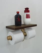 Porta Papel Higiênico Duplo Acessório para Banheiro Papeleira Suporte de Parede - Dourado Laca - Formalivre