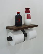 Porta Papel Higiênico Duplo Acessório para Banheiro Papeleira Suporte de Parede - Preto Laca - Formalivre