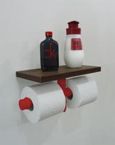 Porta Papel Higiênico Duplo Acessório para Banheiro Papeleira Suporte de Parede - Vermelho Laca - Formalivre