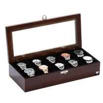 Porta Relógio Madeira Maciça Tabaco Preto  10 Divisórias - Total Luxo