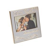 Porta-retrato 10 x 15 cm de alumínio champagne Bodas de Ouro Prestige - 27034 -