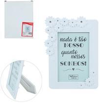 Porta Retrato 10X15 Com Moldura De Plastico Branco Flores Com Strass Wedding - Wellmix