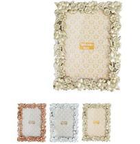Porta Retrato 10X15 Com Moldura De Plastico Flores Metalizado - Wellmix