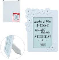 Porta Retrato 13X18 Com Moldura De Plastico Branco Flores Com Strass Wedding - Wellmix