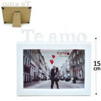 Porta Retrato 15cm10cm Plástico - TE AMO- Branco - N/D