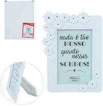 Porta Retrato 15X20 Com Moldura De Plastico Branco Flores Com Strass Wedding - Wellmix