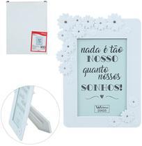 Porta Retrato 20X25 Com Moldura De Plastico Branco Flores Com Strass Wedding - Wellmix