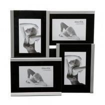 Porta Retrato de Aço Prateado p/ 04 Fotos 10x15 cm - Decorafast