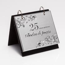 PORTA-RETRATO DE ALUMÍNIO C/ALBUM BODAS DE PRATA 10X15cm - Prestige