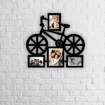 Porta Retrato Grande De Parede Bicicleta 4 Fotos Mdf - Cazhome