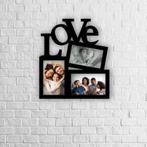 Porta Retrato Grande De Parede Love 3 Fotos Mdf Preto - Cazhome