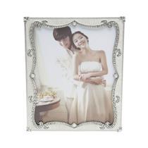 Porta Retrato Perolado Com Strass 20X25Cm Branco Prestige -