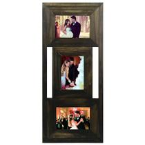 Porta Retrato Trio de Madeira Rústica 3 Fotos 10x15 - 432 - Tudoprafoto