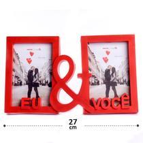 """Porta Retrato Vermelho 2 Fts 10x15 """"EU & VOCÊ"""" Namorados - N/D"""
