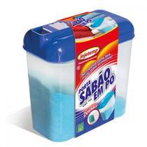 Porta Sabao em Po com Dosador 1 Kg com Tampa Azul  Injetemp -