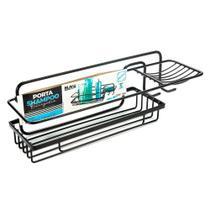 Porta Shampoo Retangular com Saboneteira Black Arthi -