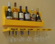 Porta Taças e Prateleira Adega Decorativa para Vinhos Garrafas Bares - Amarelo Laca - Formalivre