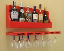 Porta Taças e Prateleira Adega Decorativa para Vinhos Garrafas Bares - Vermelho Laca - Formalivre