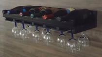 Porta Taças e Prateleira Adega New Suporte Decorativo para Vinhos e Garrafas - Preto Laca - Formalivre