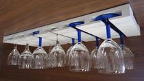 Porta Taças Reto Suporte Decorativo para Adegas Bar - Branco Laca - Formalivre