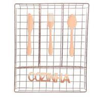 Porta Talher De Gaveta Aramado Cozinha Metalizado Rose - Wellmix