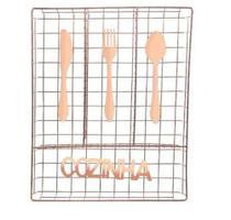 Porta Talher De Gaveta Aramado Cozinha Metalizado Rose - Wellmix -