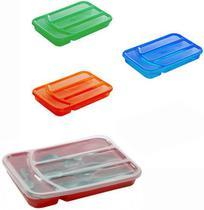 Porta talher de gaveta de plastico colors com 4 divisorias + tampa 32x21x5cm - Jaguar