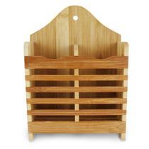 Porta talher / escorredor de bambu com 2 divisorias 20x15x6,5cm - Wincy