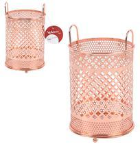 Porta talher / escorredor de talher aramado metalizado cobre / rose 18x11cm - Wellmix