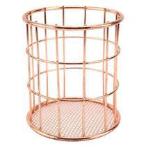 Porta talher / escorredor de talher de aramado redondo metalizado rose gold 12x9cm de ø - Clink