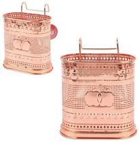 Porta talher / escorredor de talher duplo aramado metalizado cobre / rose 20,5x16cm - Wellmix