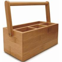 Porta talheres de bambu vertical com alca tyft -