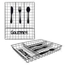 Porta Talheres Escorredor Aramado Cozinha Gaveta 4 Divisórias Gourmet - Wincy