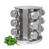 Porta Tempero 12 Potes Cozinha Inox Vidro Giratório - Reparocell