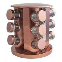 Porta Tempero Condimentos Rose Gold com 12 Potes De Vidro - TopChef