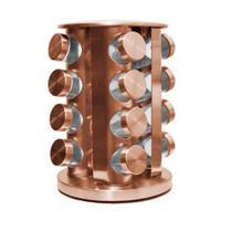 Porta Tempero Condimentos Rose Gold com 16 Potes De Vidro - TopChef