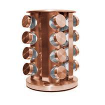 Porta Tempero Condimentos Rose Gold com 16 Potes De Vidro - Topchef -