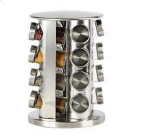 Porta Tempero Giratório Inox 16 Potes de Vidro com tampa Inox - Click Urbano