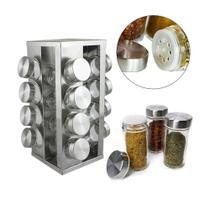 Porta Tempero Suporte Condimentos Em Inox 16 Potes Vidro Cozinha - Clink - Logospan