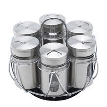 Porta temperos 06 potes vidro/aço inox bon gourmet -