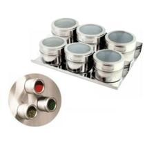 Porta Temperos 6 peças com Imã para Geladeira Magnético Top - TopChef
