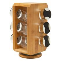 Porta temperos com suporte em bambu giratório 6 peças dynasty -