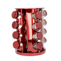 Porta Temperos com Suporte Giratório em Inox 16 Peças Vermelho - Bazar Bom