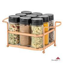 Porta Temperos Condimentos 9 Potes Vidro Suporte Rosê Gold - Cód 05809 -