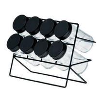 Porta Temperos Condimentos Com Suporte e 8 Potes De Vidro + Tampa De Aço Inox Cozinha - Lyor -