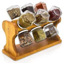 Porta Temperos Condimentos de Mesa Rústico Giratório com 12 Frascos de Vidro - Palleter -