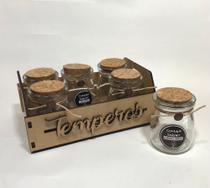 Porta Temperos Condimentos Kit C/6 Potes de Vidro 100ml Tampa de Rolha de Cortiça + Suporte em MDF - Contém Sabor