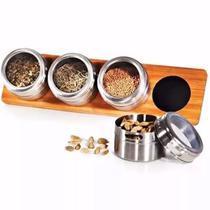 Porta Temperos Condimentos Suporte De Bambu Pote Aço Inox - Zanline